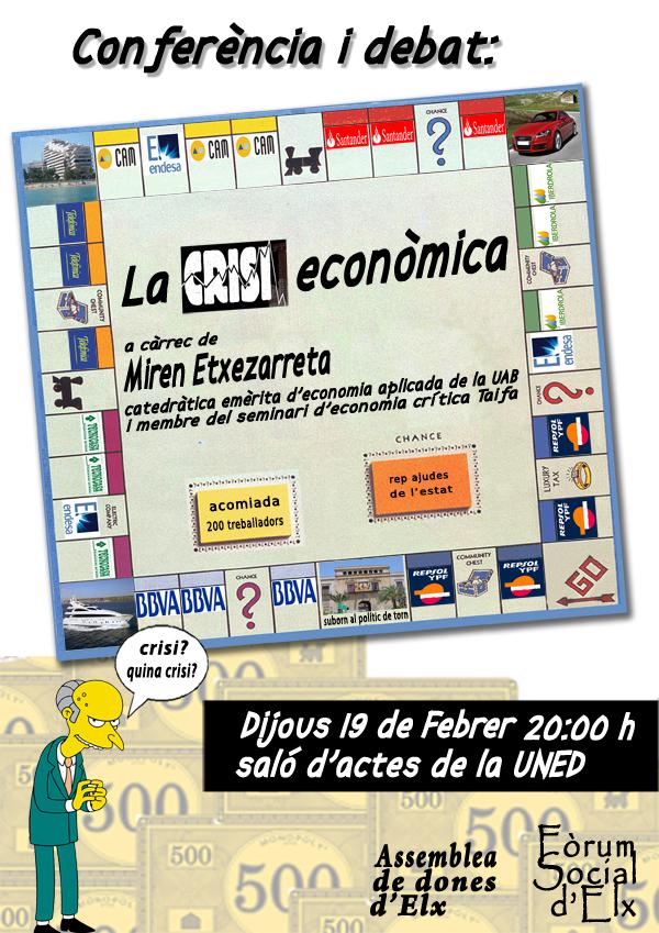 Cartel de la conferencia sobre la crisis