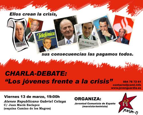 Cartel de la charla-debate 'Los jóvenes frente a la crisis'