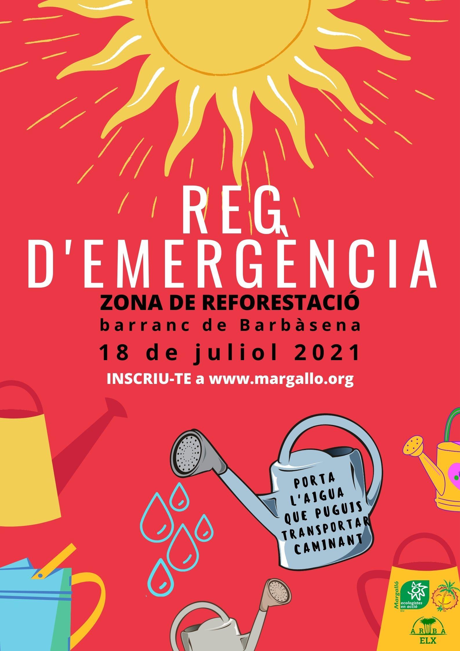 Reg de supervivencia a la zona de reforestació del barranc de Barbàsena el dissabte 18 de juliol a les 8:00h